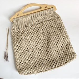 Vintage Crochet Tote With Plastic Handles